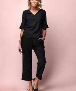 Crop Wide Leg Pant with Pockets
