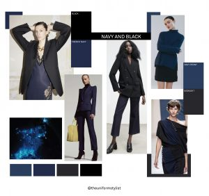 Our mood board with styling options for wearing navy and black together