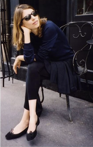 Alexa chung in navy and black in paris