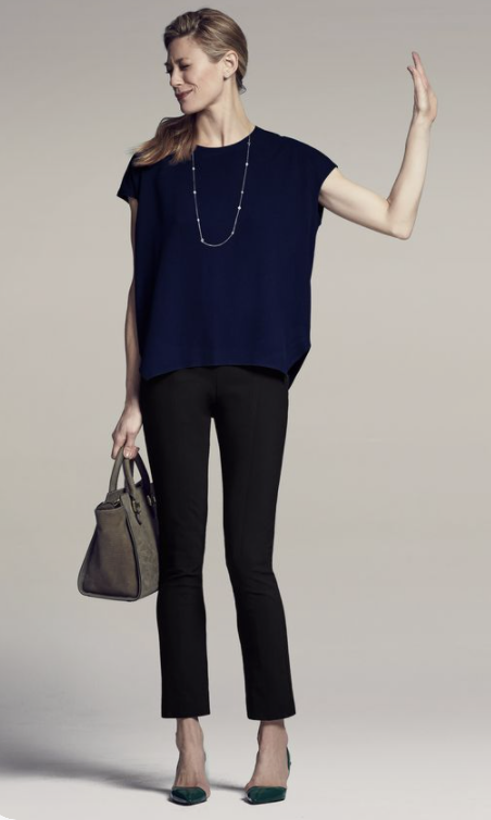 Navy top and black pants