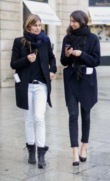 French women wearing navy and balck