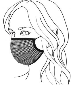 Pleated double layer face mask - Silk houndstooth